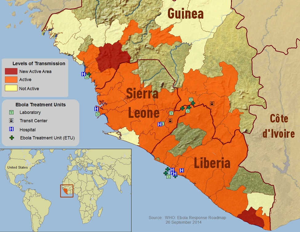 Distribution map of reported cases of Ebola